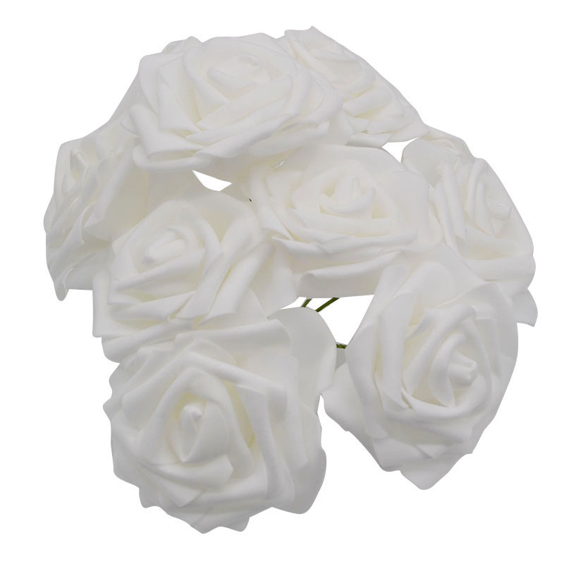10 шт. 8 см большие ПЭ пенные цветы искусственные розы цветы Свадебные букеты Свадебные украшения для вечеринки DIY Скрапбукинг Ремесло поддельные цветы - Цвет: white no leaf