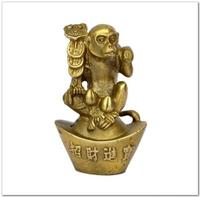 Chinese Folk Handmade Fengshui Chinese Zodiac Monkey for Wealth Collectible Statue Furniture