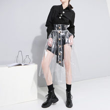 Pencil Skirt Solid New Arrival Acetate Skirt Europe And America Street 2019 Transparent Personality High Waist Single-breasted(China)