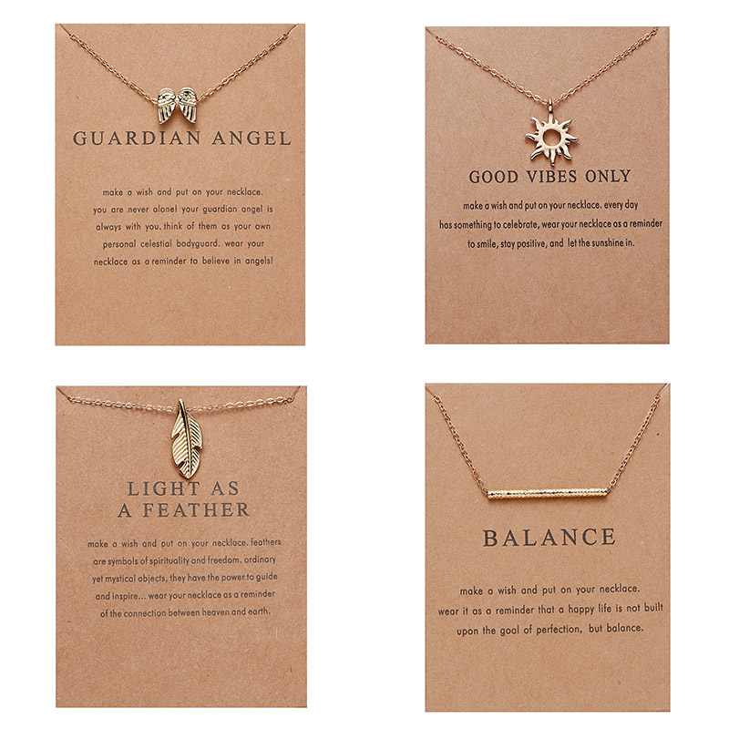 Rinhoo Alloy Pendant Short Necklace gold Balance Wood Straight Bar sun wing Leaf wish card necklace Fashion charm Necklace gift image