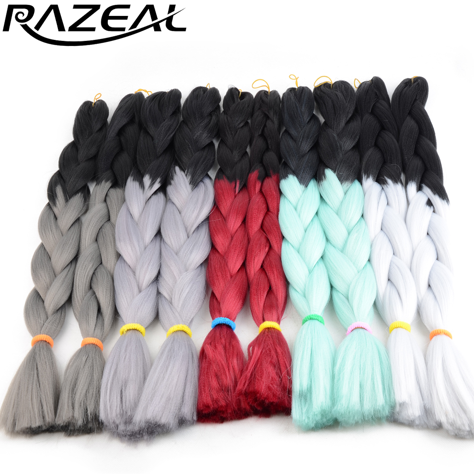Razeal 24 Inch 100g Ombre Jumbo Braids 5 Pcs Synthetic Brading Hair Extensions Crochet Hair High Temperature Fiber Hair Extensions & Wigs