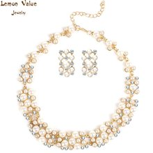 Lemon Value Fashion Statement Imitation Pearl Crystal Pendant Necklace Earrings Sets Women Wedding Jewelry Sets Bijoux ZA271(China)