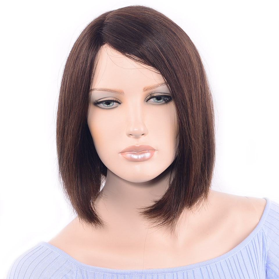 LADYSTAR Remy Hair Straight Hair Bob Wigs 150% Density The Right Part Hand Made Brazilian Human Hair Wigs For Women