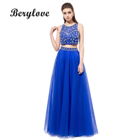 BeryLove Long Deux Pièces Robes De Bal 2018 Bleu Royal Perlée Robes De Soirée Formelle Robes De Soirée Femmes Robe de Fête de Remise