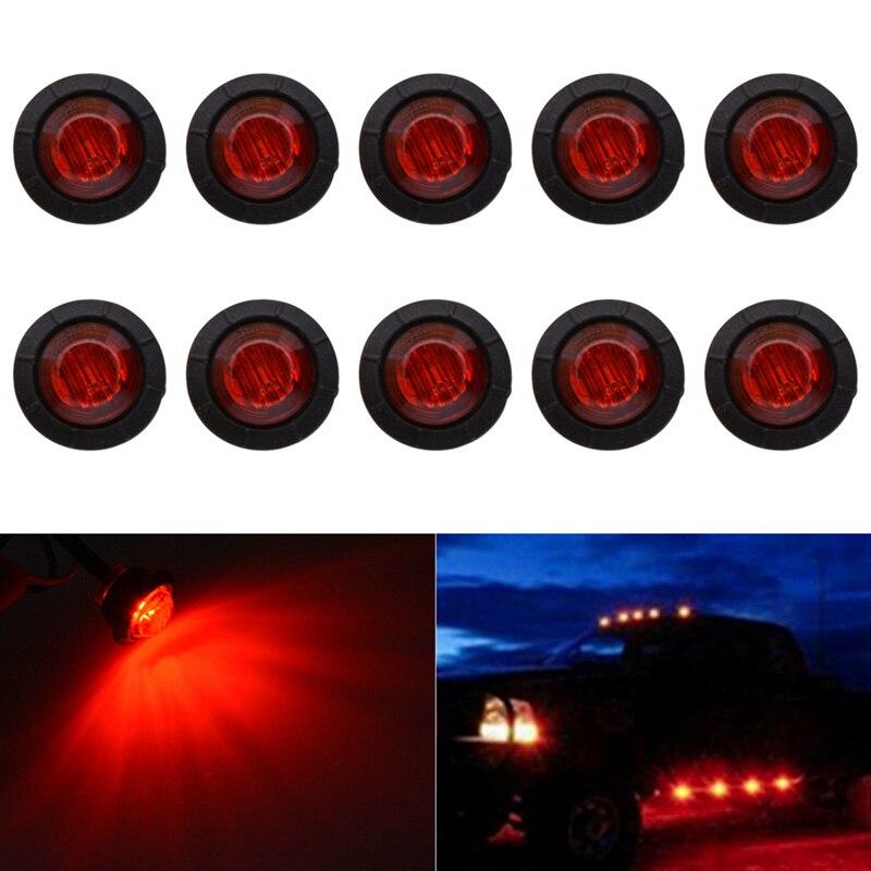 KaTur 3/4 Inch Round LED Front Rear Side Marker Indicators Light Waterproof Bullet Clearance Marker Light 12V For Car Truck