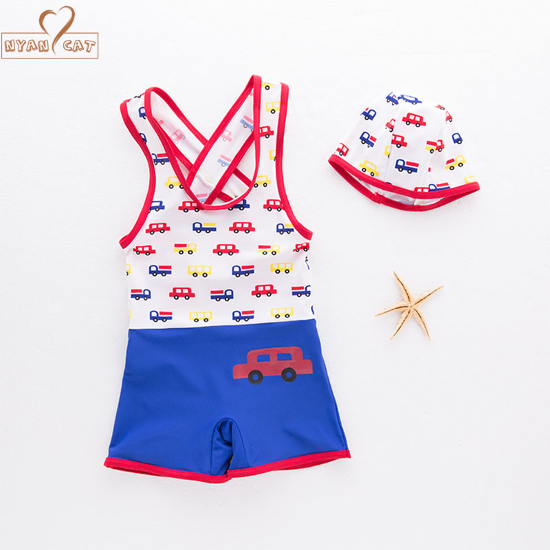 NYAN CAT Baby boy swimsuit short sleeves swimwear +hat car infant toddler kids children spa vacation swimming pool clothing set