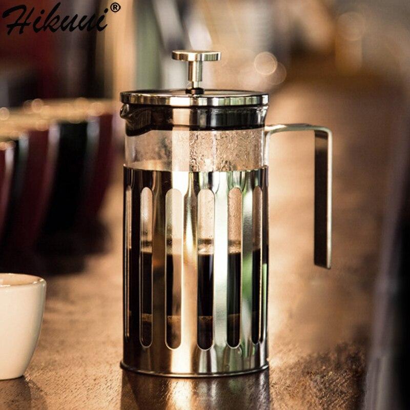 350 600 1000 ミリリットル手動コーヒーフレンチプレスポットガラスステンレス鋼プランジャ茶注入器メーカーフィルター家庭用パーコレーターツール -