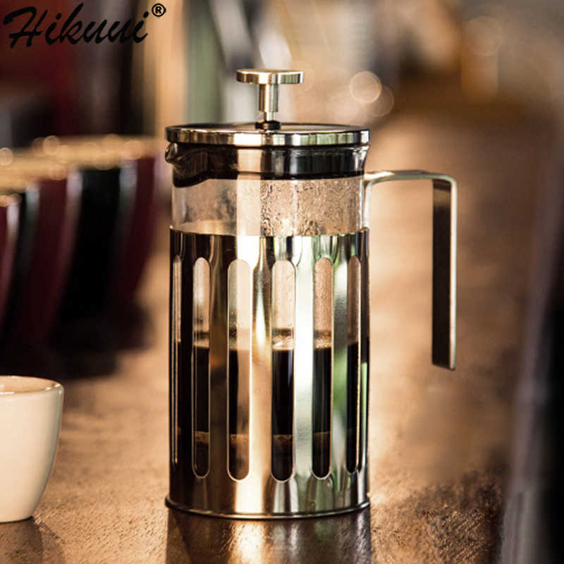 350, 600, 1000ml de Manual de café francés prensas olla de vidrio de acero inoxidable émbolo Infusor de té de filtro hogar cafetera herramienta