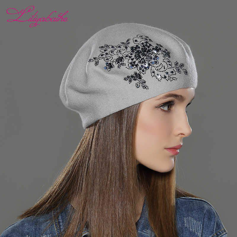 032a5cb7c676d ... LILIYABAIHE New Women Winter Hat wool Knitted Berets Cap with flower  Sequins diamond decoration solid colors ...
