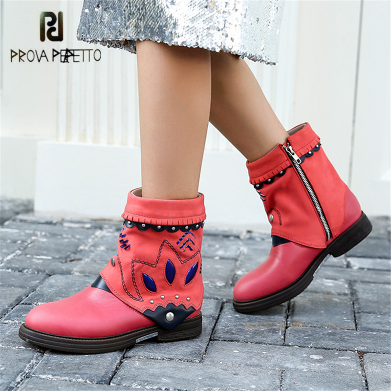 Prova Perfetto Handmade Ankle Boots for Women Rivets Studded Martin Boot Autumn Winter Female Platform Rubber Short Booties prova perfetto black ankle boots for women rivets studded genuine leather martin boot autumn winter female platform rubber boots
