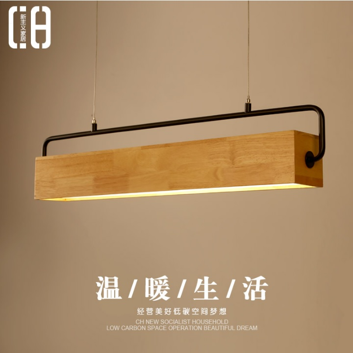 Pendant Lights in Wooden Body with Metal Handle Hanger and Acrylic Diffuser for Kitchen Island / Working Station
