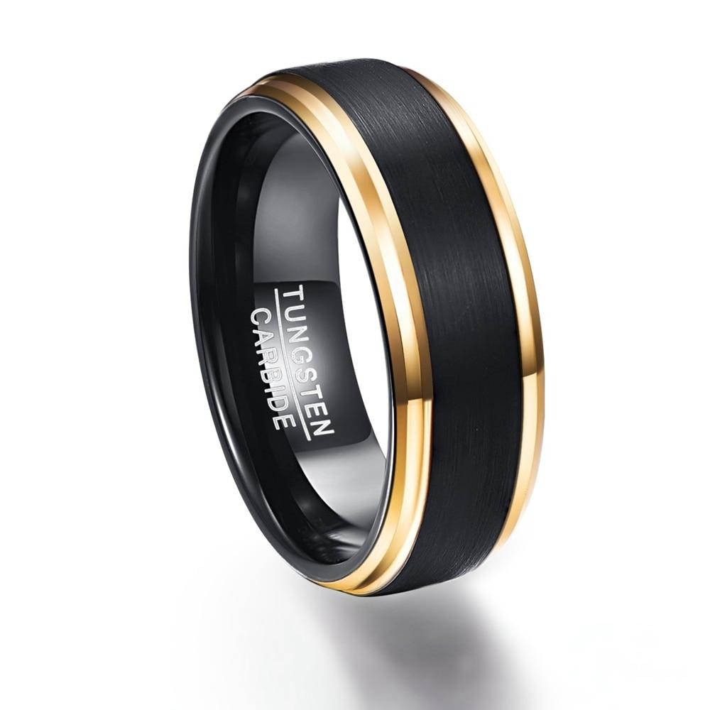 Us 9 24 18 Off Mode Sieraden Mens 8mm Black Carbon Fiber Ringen Hoge Kwaliteit Frosted Goud Kleur Tungsten Ring Voor Mannen Bruiloft Accessoires In