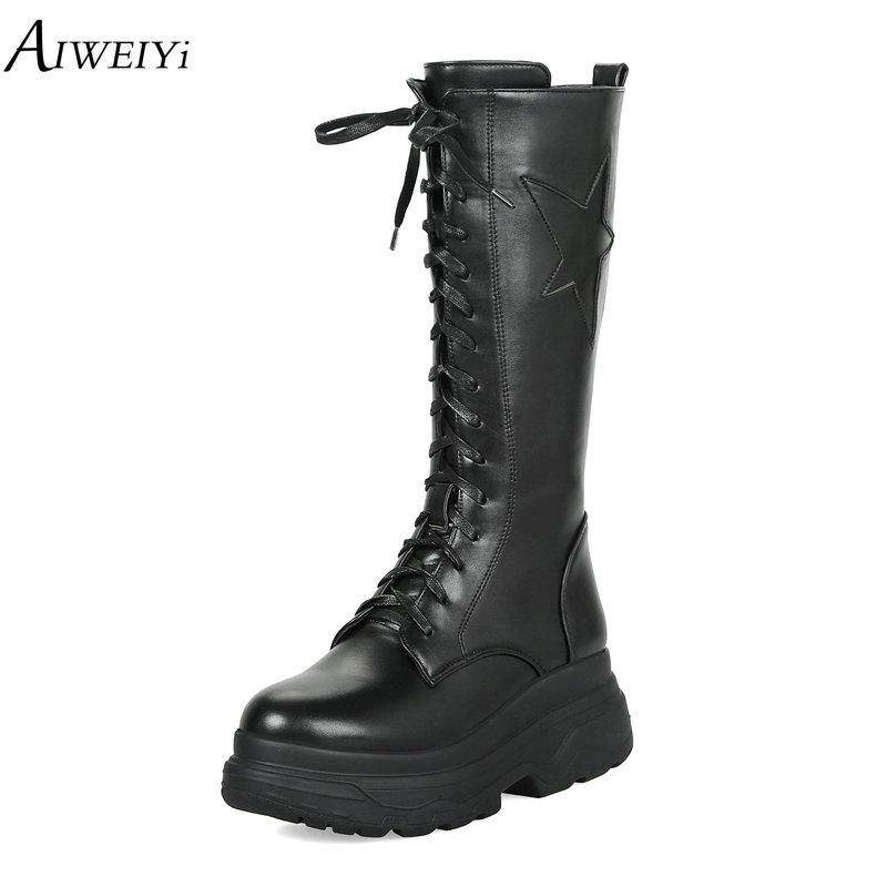 AIWEIYi Women Mid Calf Boots Black Martin Boots British Style Gothic Punk Thick Warm Black Shoes Lace Up Thick Heels Shoes menu чаша black contour