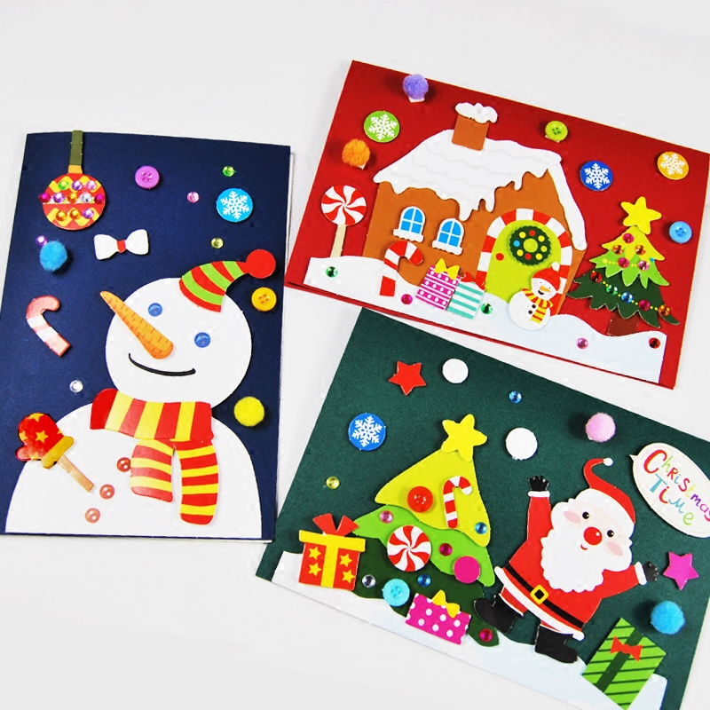 Child Handmade New Year Gift Card Christmas Button Painting