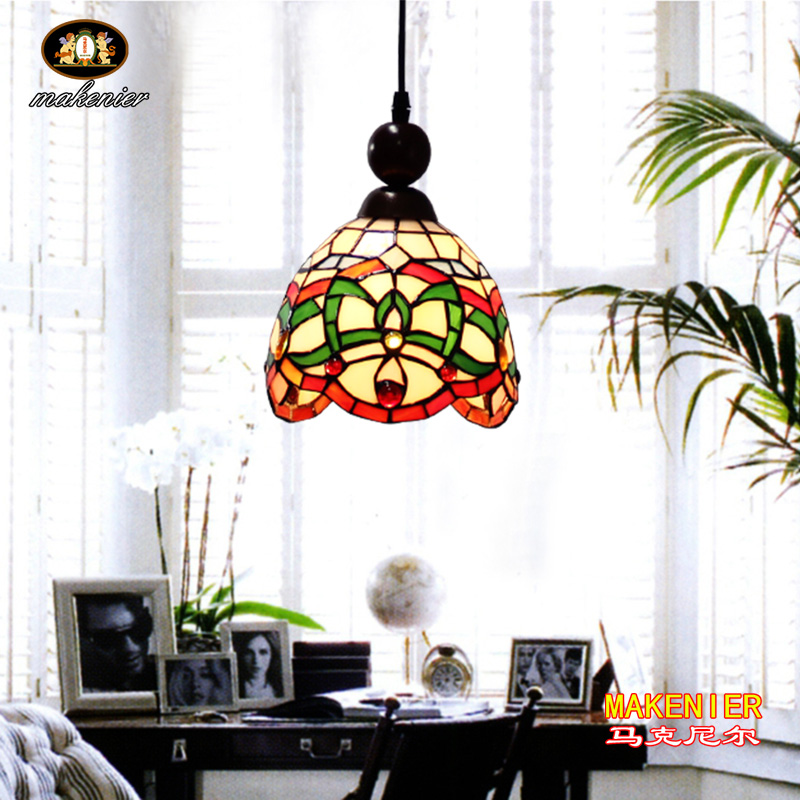 Makenier Tiffany Style Stained Glass Decorative Pattern Vintage Small Pendant Lamp, 7 Inches Lampshade snsd tiffany autographed signed original photo 4 6 inches collection new korean freeshipping 012017 01