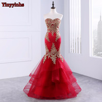 Beaded Lace Appliques Mermaid Ruffles Sweetheart Neck Formal Evening Prom Dresses Girls Pageant Gown Evening Party