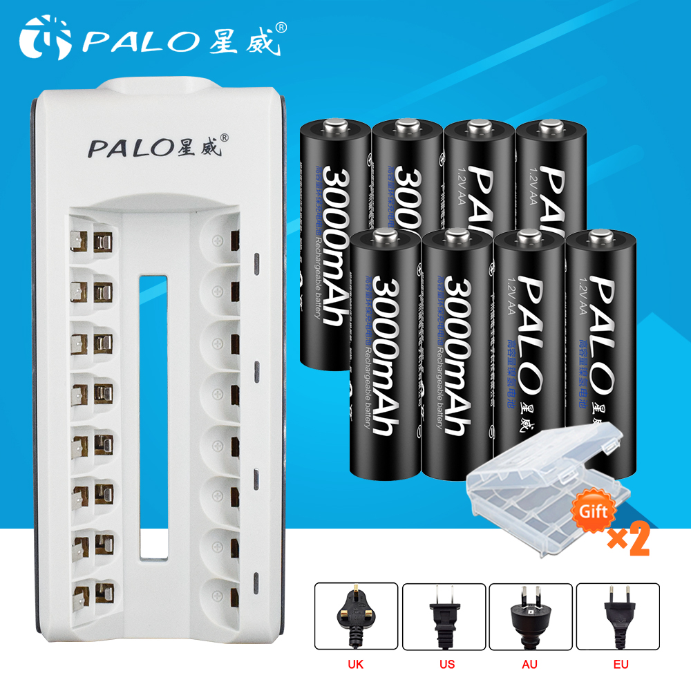 PALO 8 slots LED display smart AA battery charger for AA/AAA rechargeable battery+8pcs 3000mAh Ni-MH batteries