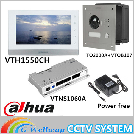 Mutil language 7inch Touch Screen Dahua VTH1550CH Monitor with TO2000A outdoor IP Metal Villa Outdoor Video Intercom sysytem 7 inch video doorbell tft lcd hd screen wired video doorphone for villa one monitor with one metal outdoor unit night vision