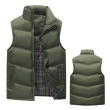 New Winter Vest Men Slim Fit Casual Vest Male Warm Waistcoats Sleeveless Jackets Stand Collar Men's Vests Plus Size Men Coats