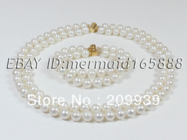 huij 002053 2 Rows 9-10mm Set White Pink Akoya Cultured Pearl Necklace/Bracelets
