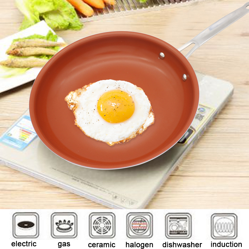 Nonstick Skillet Copper Pan 12 Inch Cookware Oven & Dishwasher Safe Ceramic Pan Non-Stick Frying Red Pans Copper Saucepan
