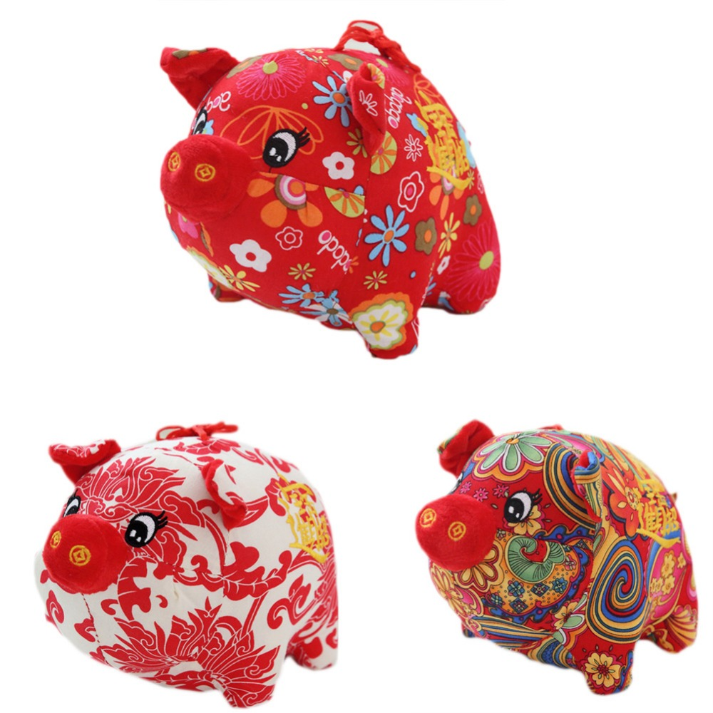 Chinese Knot Red Pig Plush Toy Doll Doll New Year Decor Ornaments Toys Gfits