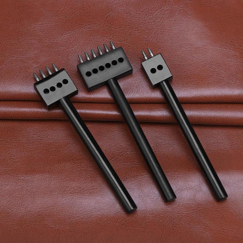 5mm DIY Leather Craft Punching Tool 2/4/6 Prong Hole Row Circular Cut Stitched Hole Spacing Drilling Leather Craft Tool