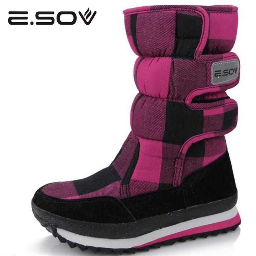 Esov Women Boots 2017 Russia Winter Outdoor Non-slip Thicker Plush Keep Warm Woman Snow Boots Platform Mid-Calf Boot Shoes Woman hot warm women s winter boots 2017 new outdoor non slip waterproof snow boots mid calf high white women winter shoes botas mujer