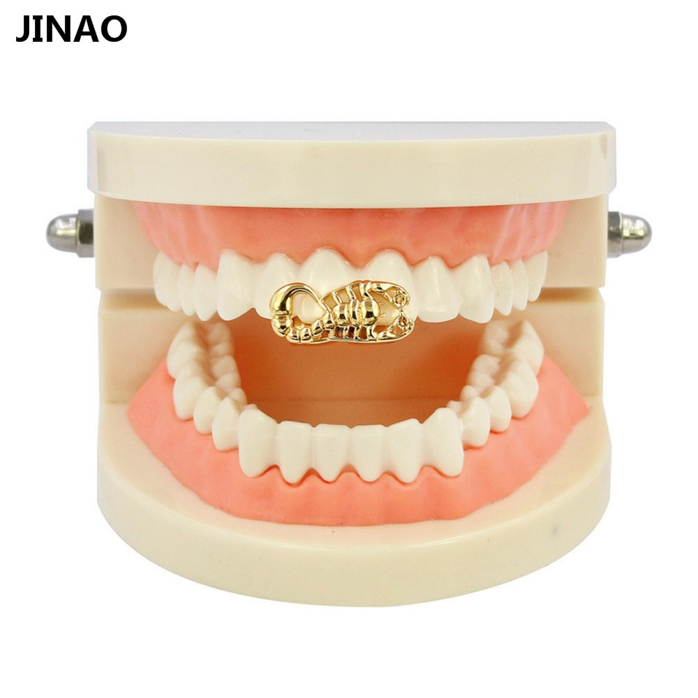 JINAO Hip Hop Gold Tone Scorpion Crown Heart Shape Removable Grillz Double Teeth Cap The Top Or Bottom Teeth Solid