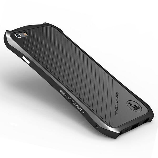 bilder für New Luxury Durable Stoßfest Ultradünne Rückenledertasche + Metall aluminium Stoßfeld-fall-abdeckung Für Apple iphone 6 6 S/Plus Shell