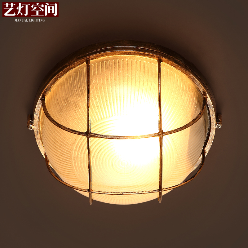 Фото American style entrance balcony lamps vintage brief iron glass ceiling light