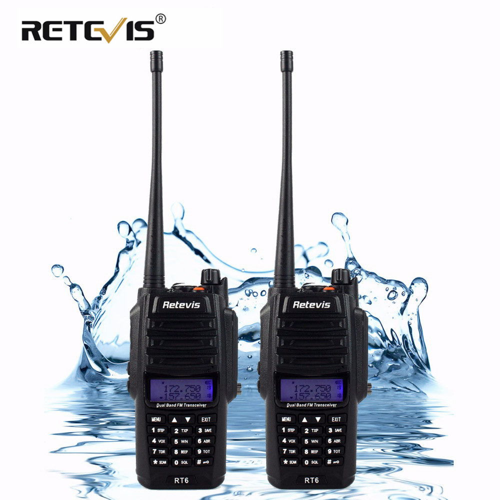 2pcs IP67 воданепранікальны Walkie Talkie пара Retevis RT6 5W 128CH УКХ FM-радыё VOX SOS Alarm Professional Station Two Way Радыё