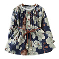 2017 Fashion Spring Autumn Girls Belt Dresses Girls Floral Print Pattern Dress Kids Dress costume