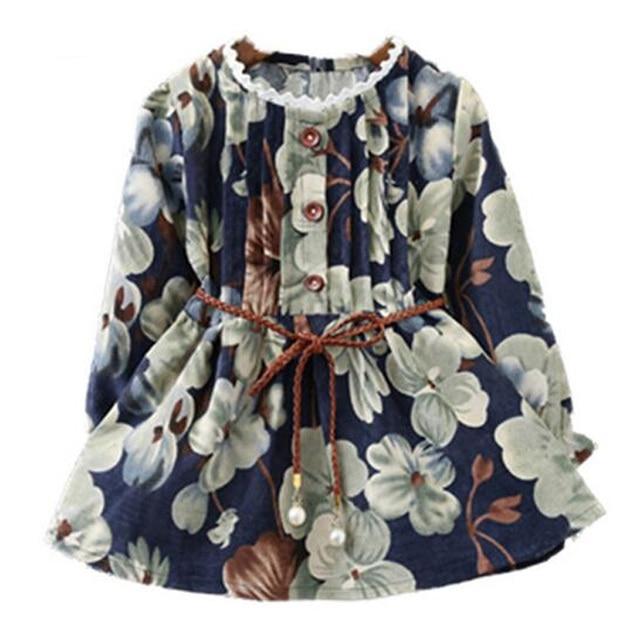2017 Fashion Spring Autumn Girls Belt Dresses Girls Floral Print Pattern Dress Kids Dress costume