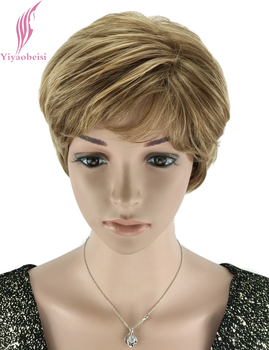 цены Yiyaobess 6inch Natural Highlights Short Blonde Wig Synthetic Afro Hair Straight Wigs For Black Women Free Shipping