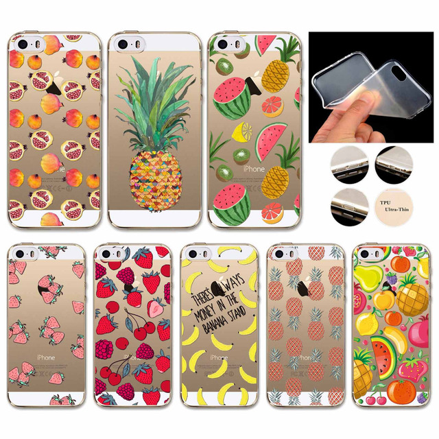 Apple iPhone 5 5S SE Various Cool Fruit Patterns TPU Soft Rubber Silicone Mobile Phone Bag