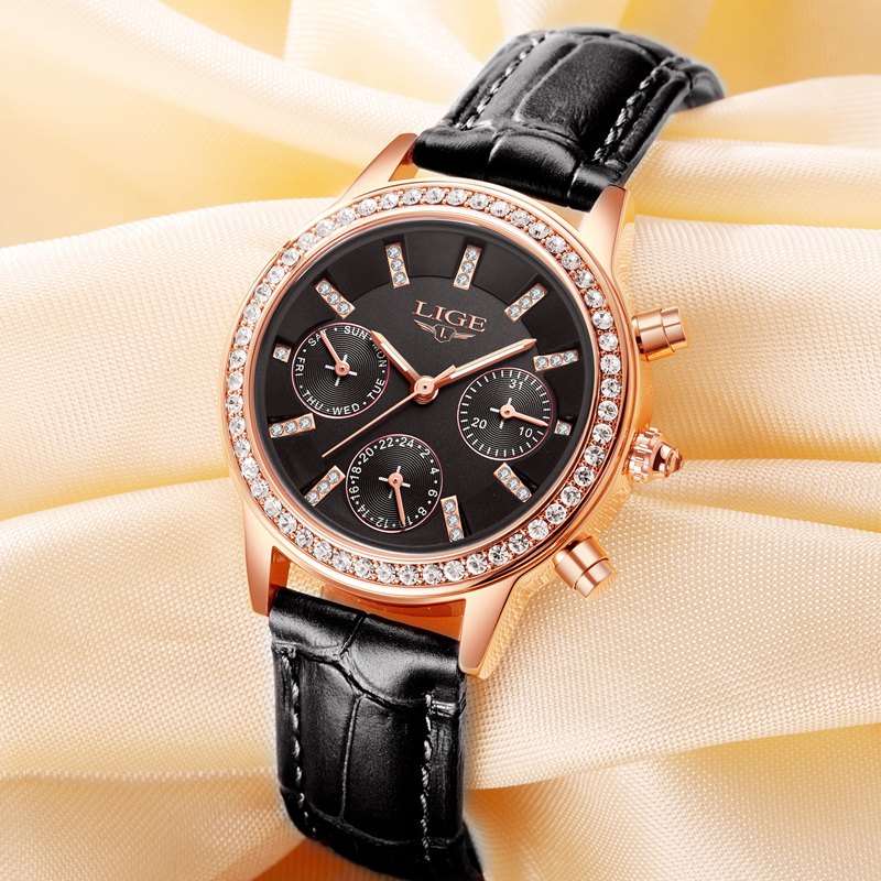 Relogio feminino Wanita Jam Tangan LIGE Merek Mewah Gadis Kuarsa - Jam tangan wanita - Foto 6