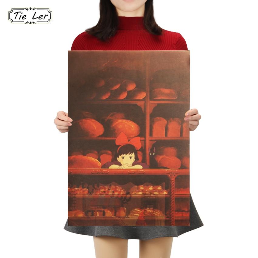 TIE LER Kiki's Delivery Service Miyazaki Hayao Kraft Paper Poster Bar Cafe High Huality Home Decor 50X35cm(China)