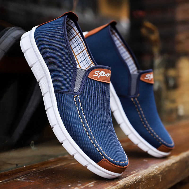 Men Canvas Shoes Men Sneakers Casual Loafers Mocassim Male Shoes Slip On Flats Summer Breathable Mens Driving Shoes Trainers