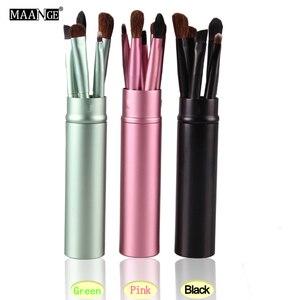 Image 5 - MAANGE 5pcs Pro Eye Shadow Brushes Set Powder Lips Eyebrow Eyeliner Makeup Brush Cosmetic Beauty Make Up Tool Case Kit With Logo