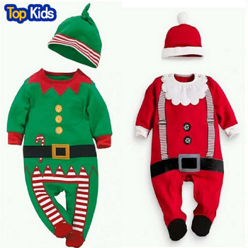 2019 new Chrismas Spring 2 pcs. girl newborn boy rompers hats baby clothes long sleeve baby suit retail CR048 1