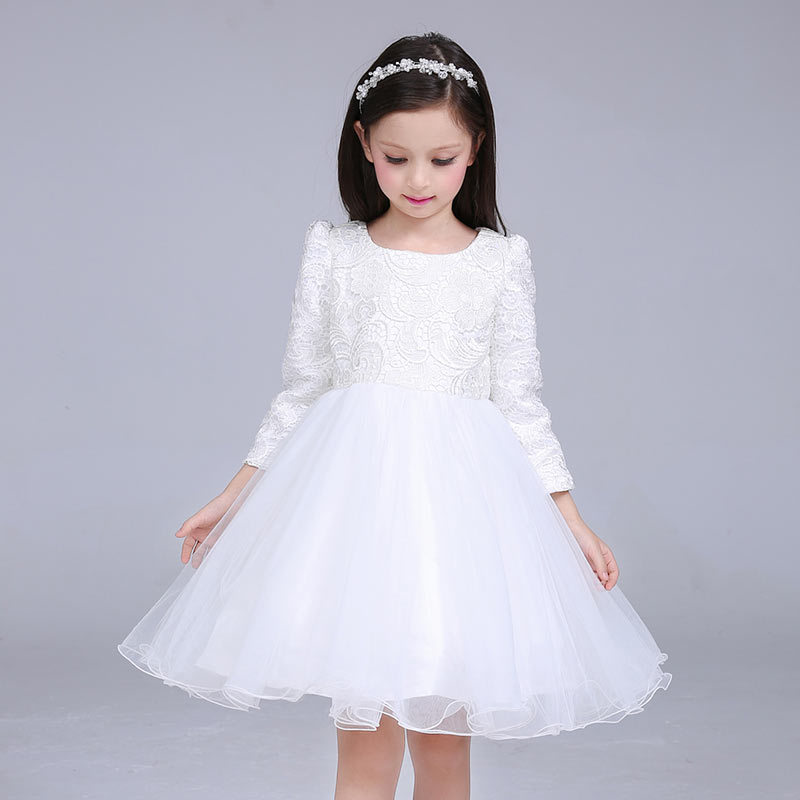 YNB Long Sleeve Flower Girls Wedding Dress Kids Formal Party Clothing 2017 Fashion Children Dresses for Girls Pink White Clothes summer 2017 new girl dress baby princess dresses flower girls dresses for party and wedding kids children clothing 4 6 8 10 year