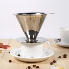 Café de Filtro de Té de Acero inoxidable Reutilizable Embudo Verter Sobre V-tipo Gotero Café Espresso Taza Del Filtro
