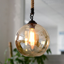 Loft Vintage retro Pendant Lights Industrial Glass Ball Hemp rope E27 Fixtures for Restaurant Dining room Living Room Cafe Bar loft vintage animal resin hemp rope monkey pendant lights industrial retro e27 edison pendant lamps dining room bedroom bar gift