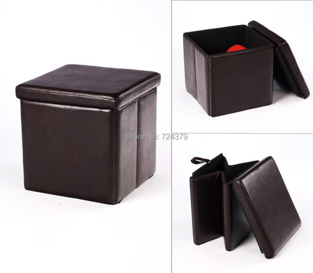 Leather Modern Stools Round Ottoman Pouf Folding Bedroom Home Furniture  Footstools Ottomans USA UK