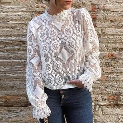 Sexy Perspective Women T-Shirt Summer White Hollow Loose Batwing Long Sleeve Tshirt Women Casual Lace Floral Fashion T Shirt Top 1