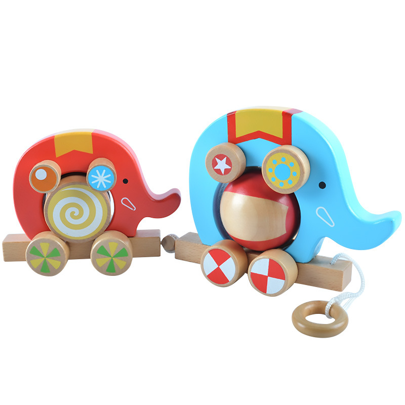 Wooden childrens toy elephant drag toy car fun roller game 2pcs childrens cognitive educational toys childrens gifts