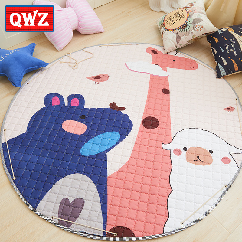 QWZ 150cm Ins Nordic Style Baby Play Mat Cartoon Round Storage Mat Children Non-Slip Crawling Mat Game Pad Kids Toys Play Pouch цена