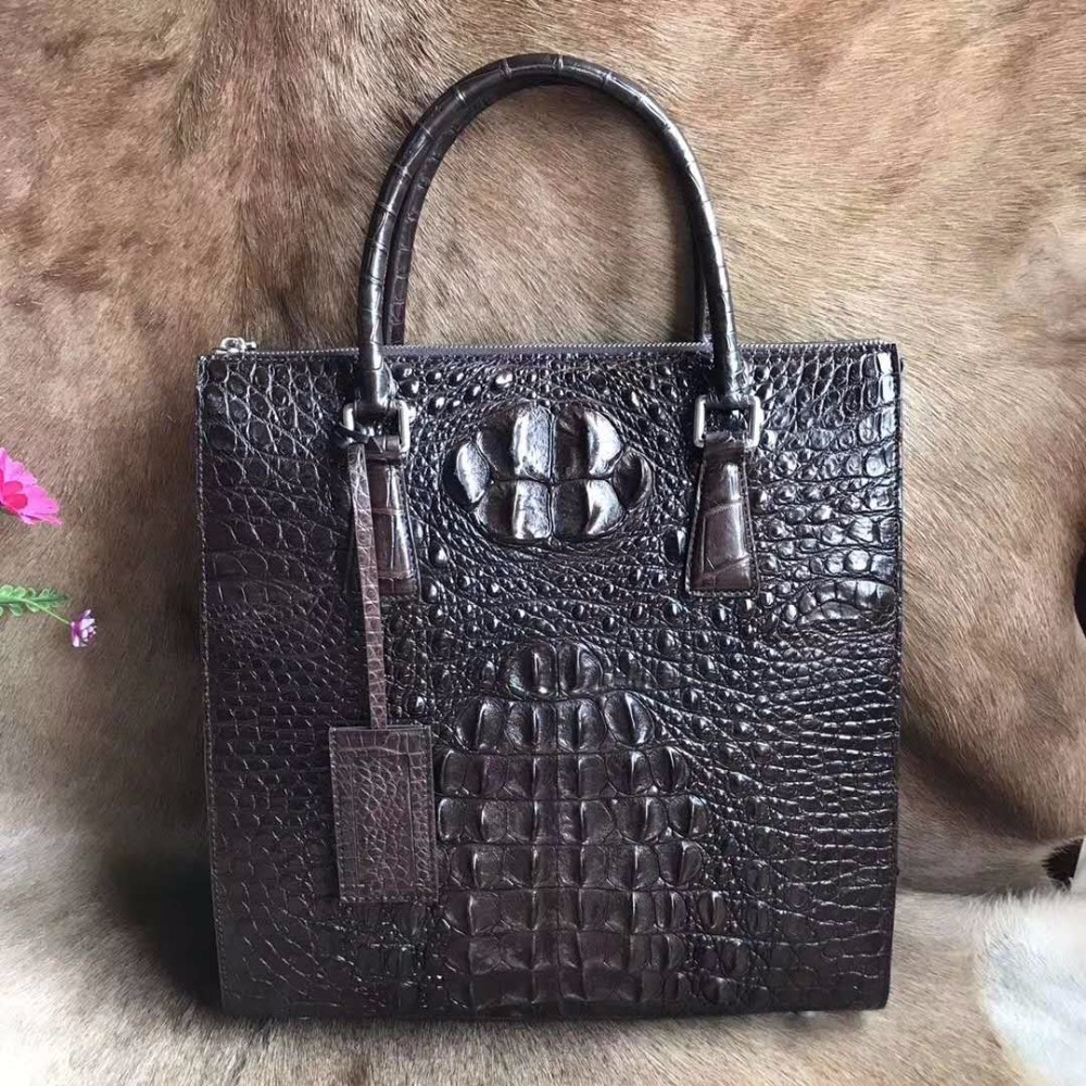 100% Genuine/Real Crocodile Skin Leather Men Business Bag Men Briefcase Laptop Bag Leisure Style Fashion 2018 Hot Selling Bag