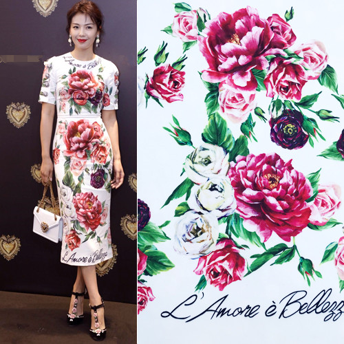 80f545b89f Detail Feedback Questions about 1.7meter Located Peony Flowers L Amore White  Background Polyester Fabric for Woman Spring Summer Dresses Sewing AF577 on  ...